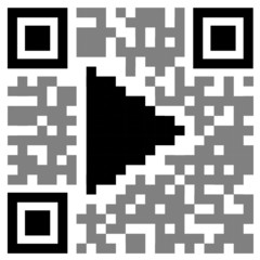 """""""PLAY"""" QR CODE (launch video watch view symbols icons buttons)"""