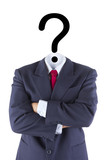 invisible businessman question mark head brain confusion