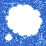 vintage speech bubble on blue grunge background