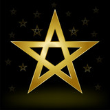 mystery gold pentagram on the dark background