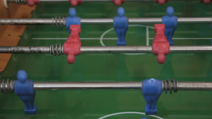 foosball table game in action