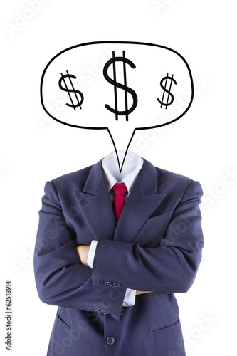invisible businessman head think about money