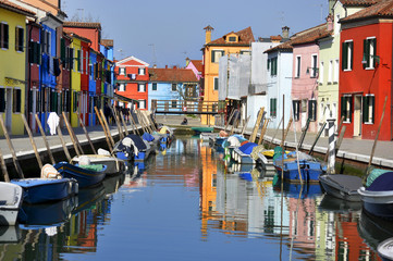 Reflections of colorful houses in Burano