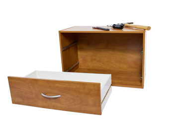 Building a shelf or drawer furniture on white background