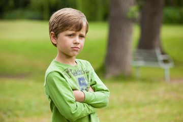 Serious boy standing with arms crossed at park