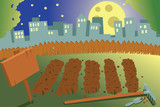 Vegetable garden in a city by night