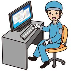 パソコン をする作業員