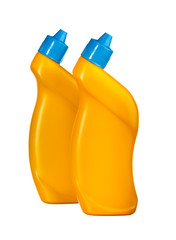 Two yellow bottles with detergent