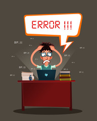 nerdy programmer get stressed because error in his program