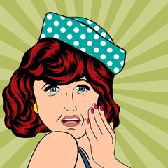 Pop Art illustration of a sad woman