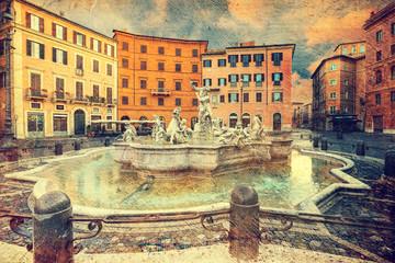 Piazza Navona, Rome. Italy. Picture in artistic retro style.