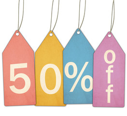 Fifty Percent Off Sale Colorful Tags
