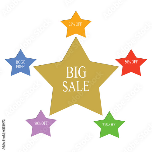 Big Sale Word Stars Concept