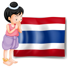 A young girl from Thailand standing in front of the flag