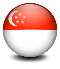 A ball with the flag of Singapore