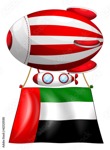 A balloon and the United Arab Emirates flag