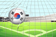 A soccer ball with the South Korean flag