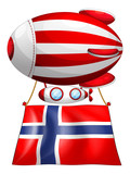 A floating balloon with the flag of Norway