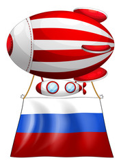 A balloon and the flag of Russia