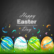 Easter eggs and confetti. Vector