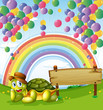 A turtle beside the empty board with a rainbow and floating ball