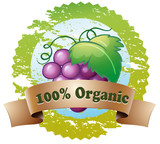 An organic label with fresh grapes