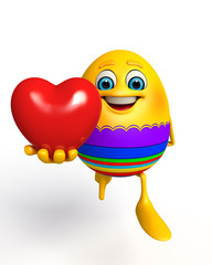Happy Easter Egg with heart shape