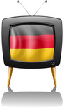 A German flag inside a television