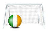 A ball near the net with the Ireland Flag