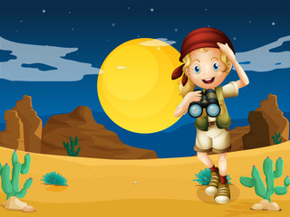 A girl at the desert with a telescope