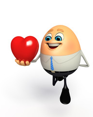 Happy Egg as Business Man with heart shape