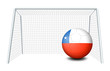 A soccer ball with the flag of Chile