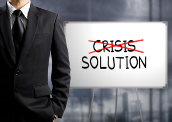 Business man cross crisis and find solution, Concept of Success