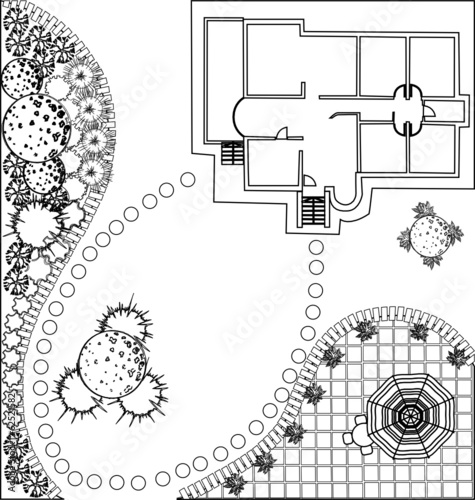 vector Landscape Plan with treetop symbols - 62521582