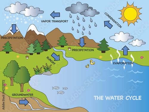 Leinwanddruck Bild water cycle