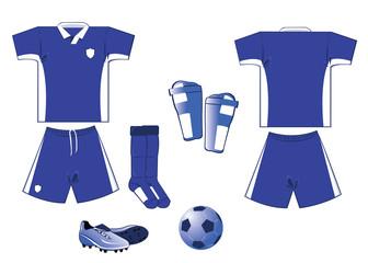 white and blue soccer equipment