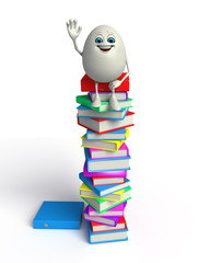 Happy Egg with books pile