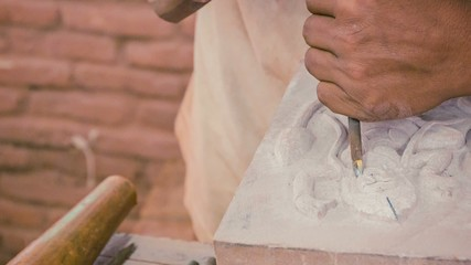 Stone carving workshop. Cambodia, Siem Reap