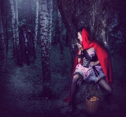 Girl Red Riding Hood with automatic