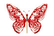 White red paint and paintbrush made butterfly