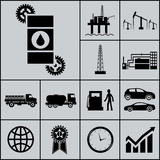 Oil Extraction Processing Use Icons and Symbols Silhouette on