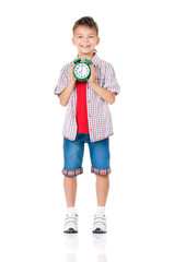 Boy with alarm clock