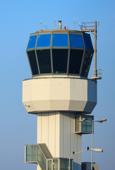 Small air traffic controle tower on a nice day.