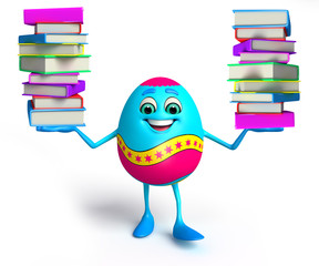 Happy Easter Egg with books pile