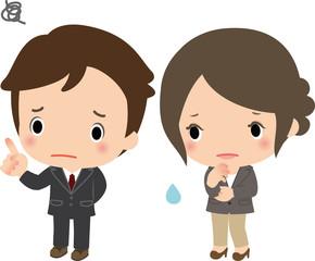 悩むビジネスマンとビジネスウーマン