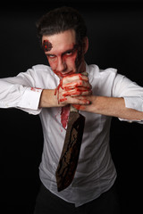 Psychopath with bloody knive