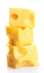 Pieces of cheese, isolated on white
