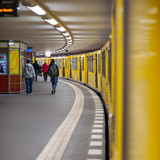 People at Potsdamer Platz subway station in Berlin, Germany.