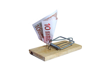 Mousetrap with euro banknote as bait
