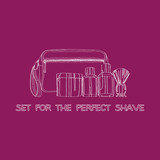 shaving kit: cream, lotion, cosmetic bag, shaving gel